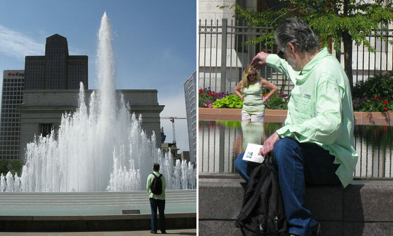 Mark With Temple Square Fountain And Shrunken Lady