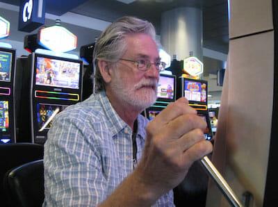 Mark with gambling machine in Las Vegas