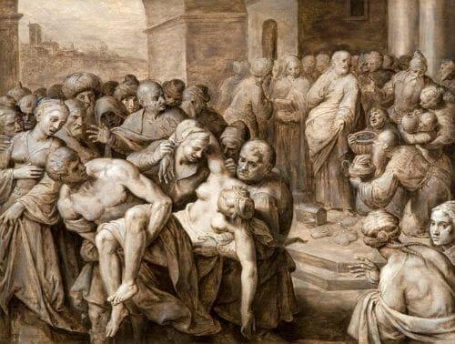 Death Of Sapphira painted by Ambrosius Francken around 1500